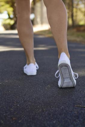 Walking away woman exercising outdoors
